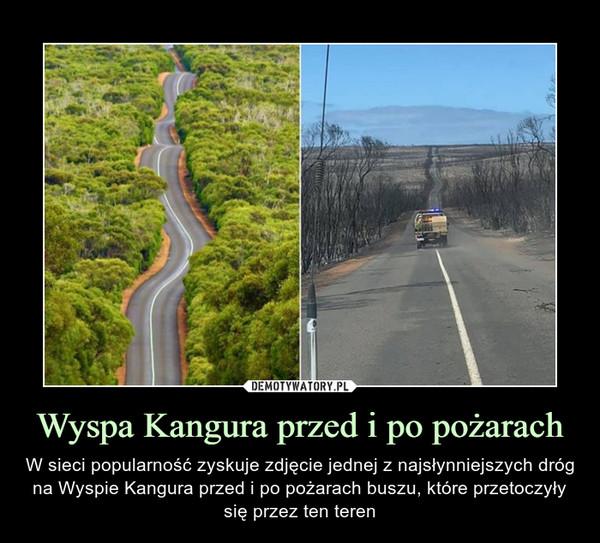 Wyspa Kangura przed i po pożarach – W sieci popularność zyskuje zdjęcie jednej z najsłynniejszych dróg na Wyspie Kangura przed i po pożarach buszu, które przetoczyły się przez ten teren