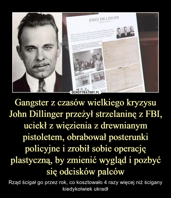 Gangster z czasów wielkiego kryzysu John Dillinger przeżył strzelaninę z FBI, uciekł z więzienia z drewnianym pistoletem, obrabował posterunki policyjne i zrobił sobie operację plastyczną, by zmienić wygląd i pozbyć się odcisków palców – Rząd ścigał go przez rok, co kosztowało 4 razy więcej niż ścigany kiedykolwiek ukradł