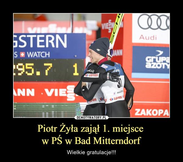 Piotr Żyła zajął 1. miejsce w PŚ w Bad Mitterndorf – Wielkie gratulacje!!!