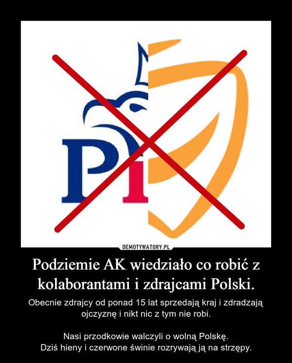 Podziemie AK wiedziało co robić z kolaborantami i zdrajcami Polski. – Obecnie zdrajcy od ponad 15 lat sprzedają kraj i zdradzają ojczyznę i nikt nic z tym nie robi.Nasi przodkowie walczyli o wolną Polskę.Dziś hieny i czerwone świnie rozrywają ją na strzępy.