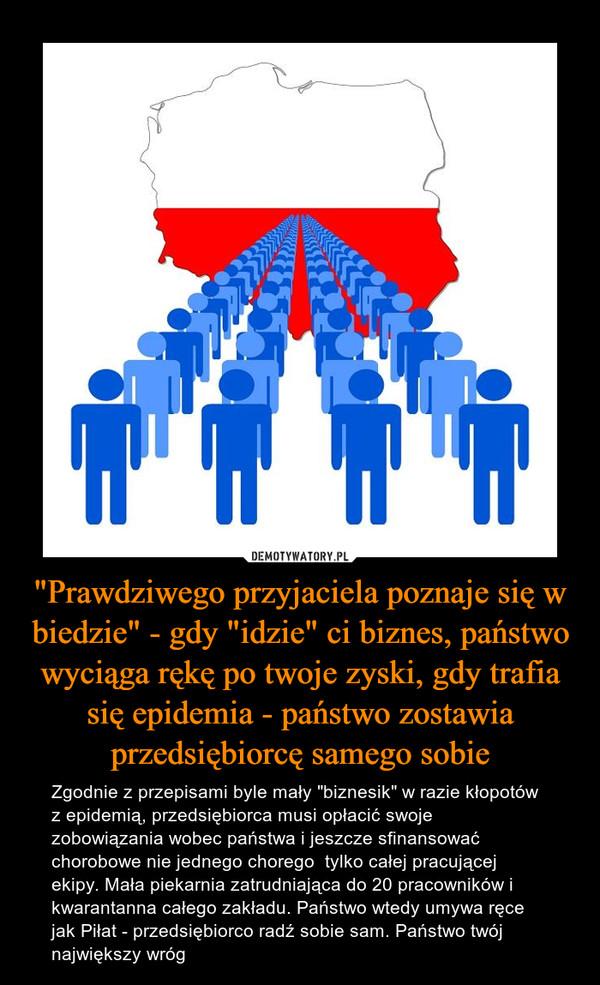 """""""Prawdziwego przyjaciela poznaje się w biedzie"""" - gdy """"idzie"""" ci biznes, państwo wyciąga rękę po twoje zyski, gdy trafia się epidemia - państwo zostawia przedsiębiorcę samego sobie – Zgodnie z przepisami byle mały """"biznesik"""" w razie kłopotów z epidemią, przedsiębiorca musi opłacić swoje zobowiązania wobec państwa i jeszcze sfinansować chorobowe nie jednego chorego  tylko całej pracującej ekipy. Mała piekarnia zatrudniająca do 20 pracowników i kwarantanna całego zakładu. Państwo wtedy umywa ręce jak Piłat - przedsiębiorco radź sobie sam. Państwo twój największy wróg"""