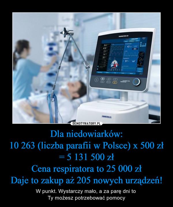 Dla niedowiarków:10 263 (liczba parafii w Polsce) x 500 zł = 5131500 złCena respiratora to 25 000 złDaje to zakup aż 205 nowych urządzeń! – W punkt. Wystarczy mało, a za parę dni to Ty możesz potrzebować pomocy