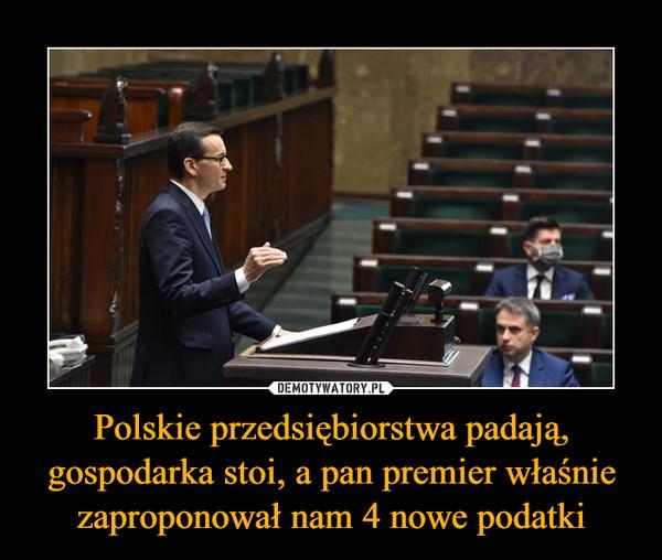 Polskie przedsiębiorstwa padają, gospodarka stoi, a pan premier właśnie zaproponował nam 4 nowe podatki –