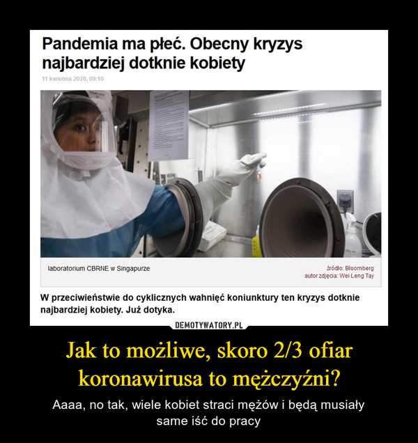 Jak to możliwe, skoro 2/3 ofiar koronawirusa to mężczyźni? – Aaaa, no tak, wiele kobiet straci mężów i będą musiałysame iść do pracy