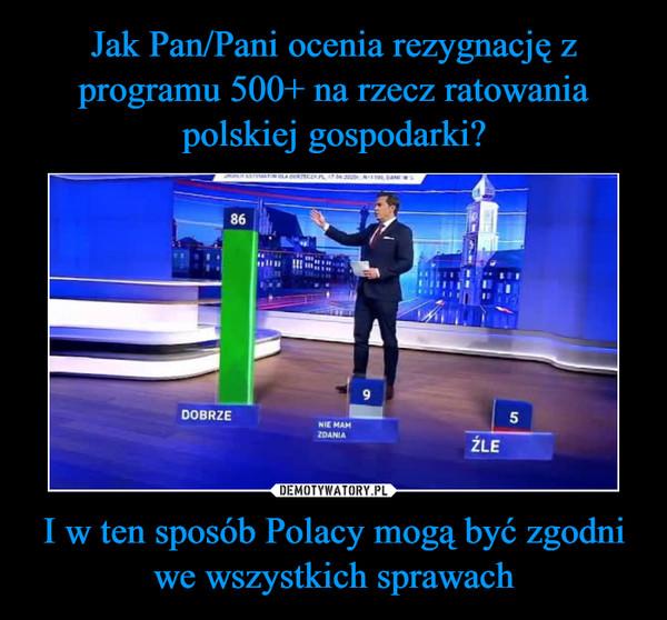 I w ten sposób Polacy mogą być zgodni we wszystkich sprawach –