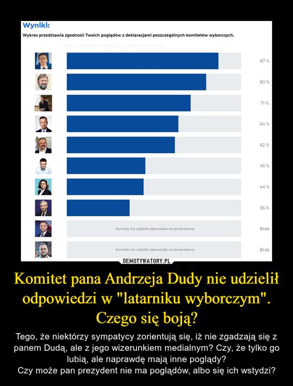 """Komitet pana Andrzeja Dudy nie udzielił odpowiedzi w """"latarniku wyborczym"""". Czego się boją? – Tego, że niektórzy sympatycy zorientują się, iż nie zgadzają się z panem Dudą, ale z jego wizerunkiem medialnym? Czy, że tylko go lubią, ale naprawdę mają inne poglądy?Czy może pan prezydent nie ma poglądów, albo się ich wstydzi?"""