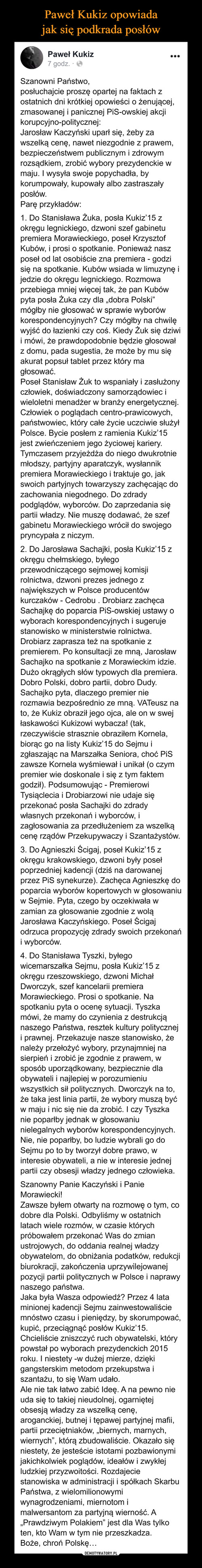 Paweł Kukiz opowiada jak się podkrada posłów
