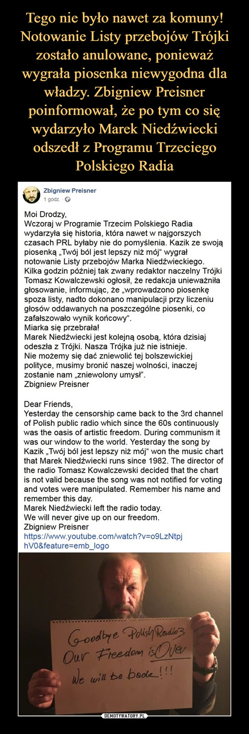 Tego nie było nawet za komuny! Notowanie Listy przebojów Trójki zostało anulowane, ponieważ wygrała piosenka niewygodna dla władzy. Zbigniew Preisner poinformował, że po tym co się wydarzyło Marek Niedźwiecki odszedł z Programu Trzeciego Polskiego Radia