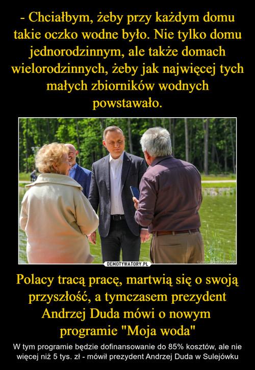 """- Chciałbym, żeby przy każdym domu takie oczko wodne było. Nie tylko domu jednorodzinnym, ale także domach wielorodzinnych, żeby jak najwięcej tych małych zbiorników wodnych powstawało. Polacy tracą pracę, martwią się o swoją przyszłość, a tymczasem prezydent Andrzej Duda mówi o nowym  programie """"Moja woda"""""""