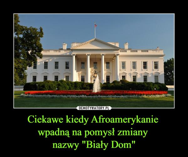 """Ciekawe kiedy Afroamerykanie wpadną na pomysł zmiany nazwy """"Biały Dom"""" –"""