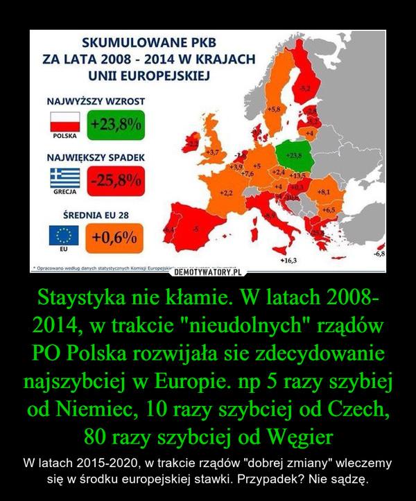 """Staystyka nie kłamie. W latach 2008- 2014, w trakcie """"nieudolnych"""" rządów PO Polska rozwijała sie zdecydowanie najszybciej w Europie. np 5 razy szybiej od Niemiec, 10 razy szybciej od Czech, 80 razy szybciej od Węgier – W latach 2015-2020, w trakcie rządów """"dobrej zmiany"""" wleczemy się w środku europejskiej stawki. Przypadek? Nie sądzę."""