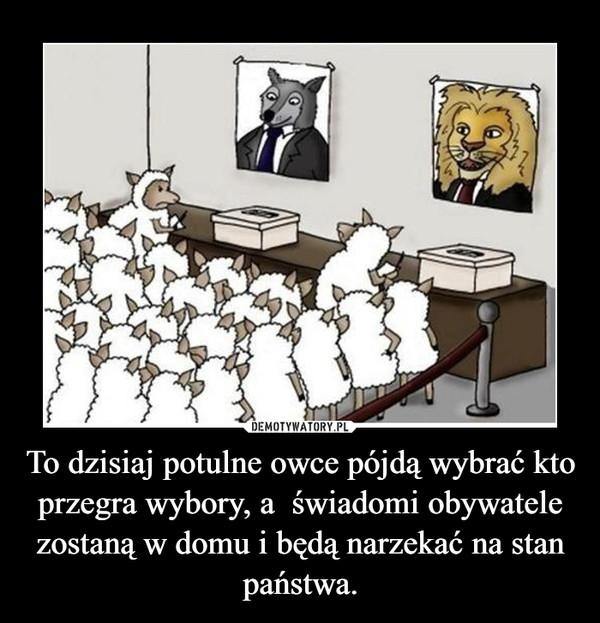 To dzisiaj potulne owce pójdą wybrać kto przegra wybory, a  świadomi obywatele zostaną w domu i będą narzekać na stan państwa. –
