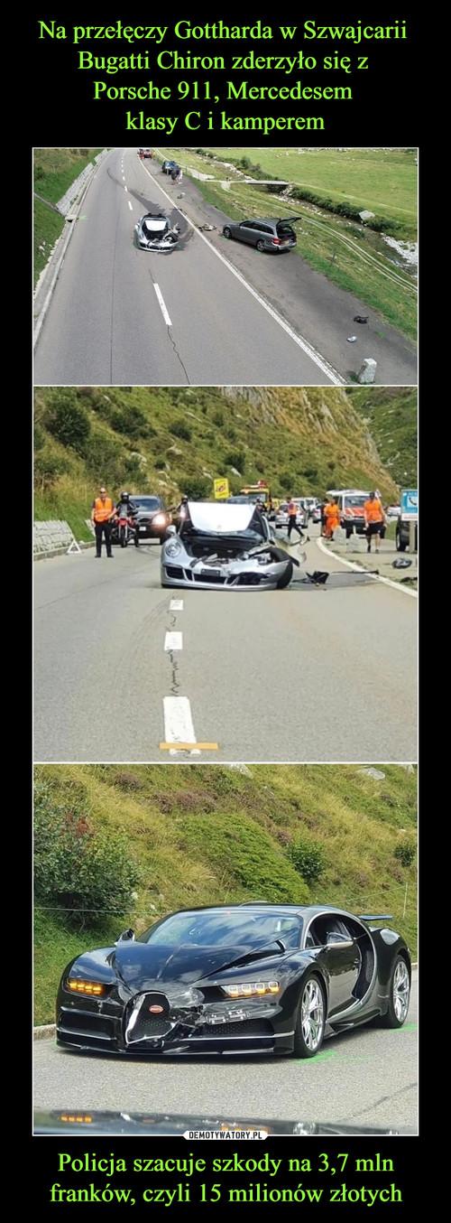 Na przełęczy Gottharda w Szwajcarii  Bugatti Chiron zderzyło się z  Porsche 911, Mercedesem  klasy C i kamperem Policja szacuje szkody na 3,7 mln franków, czyli 15 milionów złotych