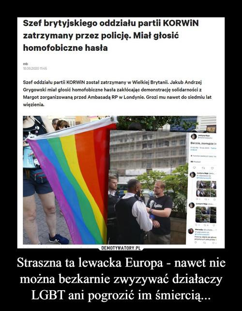 Straszna ta lewacka Europa - nawet nie można bezkarnie zwyzywać działaczy LGBT ani pogrozić im śmiercią...