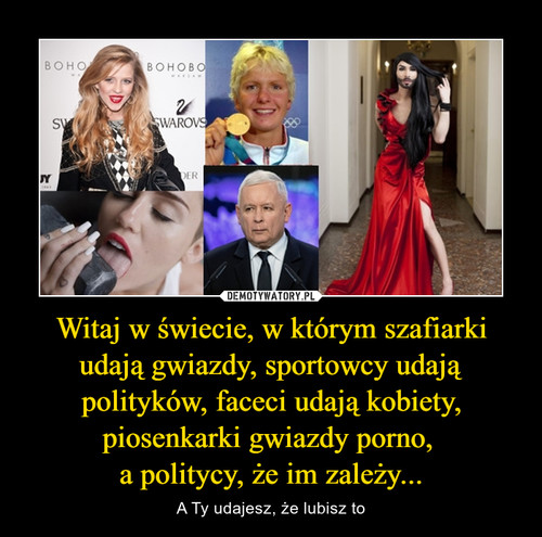 Witaj w świecie, w którym szafiarki udają gwiazdy, sportowcy udają polityków, faceci udają kobiety, piosenkarki gwiazdy porno,  a politycy, że im zależy...