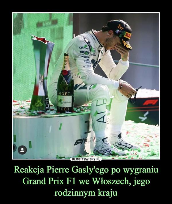 Reakcja Pierre Gasly'ego po wygraniu Grand Prix F1 we Włoszech, jego rodzinnym kraju –