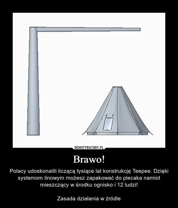 Brawo! – Polacy udoskonalili liczącą tysiące lat konstrukcję Teepee. Dzięki systemom linowym możesz zapakować do plecaka namiot mieszczący w środku ognisko i 12 ludzi!Zasada działania w źródle