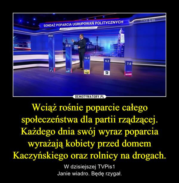 Wciąż rośnie poparcie całego społeczeństwa dla partii rządzącej. Każdego dnia swój wyraz poparcia wyrażają kobiety przed domem Kaczyńskiego oraz rolnicy na drogach. – W dzisiejszej TVPis1Janie wiadro. Będę rzygał.