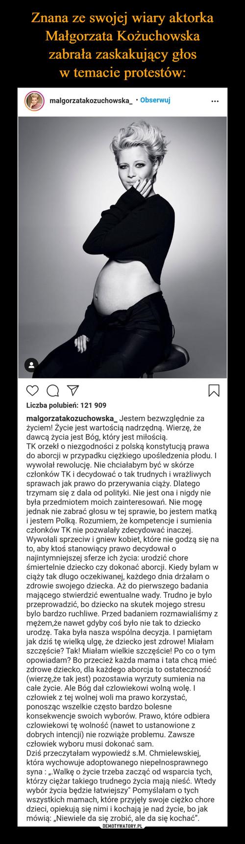 Znana ze swojej wiary aktorka Małgorzata Kożuchowska zabrała zaskakujący głos w temacie protestów: