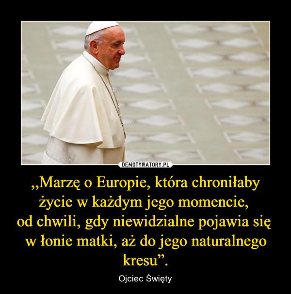 """,,Marzę o Europie, która chroniłaby życie w każdym jego momencie, od chwili, gdy niewidzialne pojawia się w łonie matki, aż do jego naturalnego kresu"""". – Ojciec Święty"""