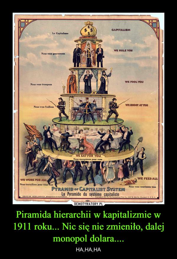 Piramida hierarchii w kapitalizmie w 1911 roku... Nic się nie zmieniło, dalej monopol dolara.... – HA,HA,HA