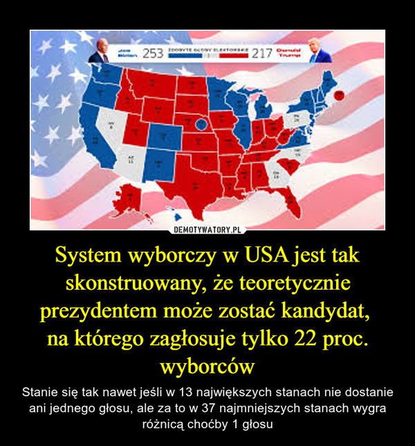 System wyborczy w USA jest tak skonstruowany, że teoretycznie prezydentem może zostać kandydat, na którego zagłosuje tylko 22 proc. wyborców – Stanie się tak nawet jeśli w 13 największych stanach nie dostanie ani jednego głosu, ale za to w 37 najmniejszych stanach wygra różnicą choćby 1 głosu