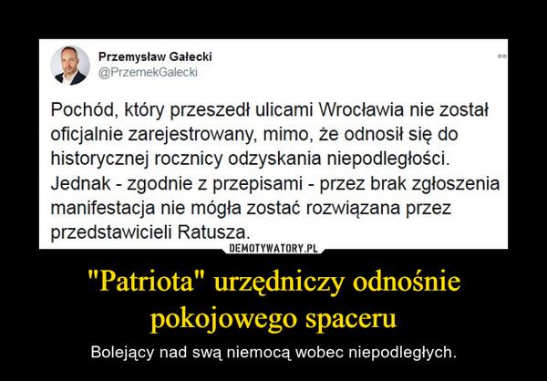 """""""Patriota"""" urzędniczy odnośnie pokojowego spaceru – Bolejący nad swą niemocą wobec niepodległych."""