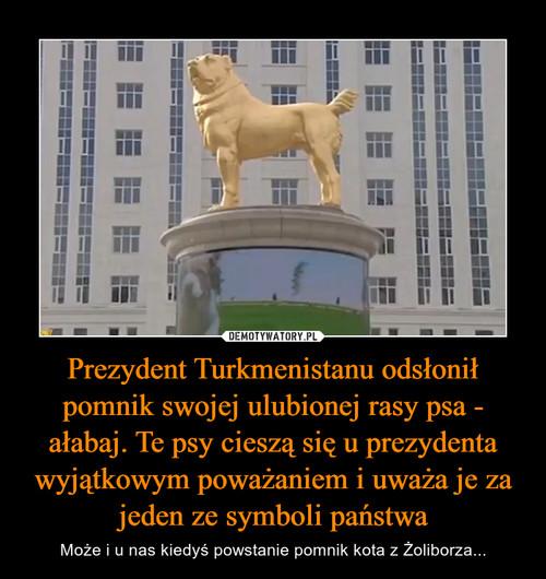 Prezydent Turkmenistanu odsłonił pomnik swojej ulubionej rasy psa - ałabaj. Te psy cieszą się u prezydenta wyjątkowym poważaniem i uważa je za jeden ze symboli państwa