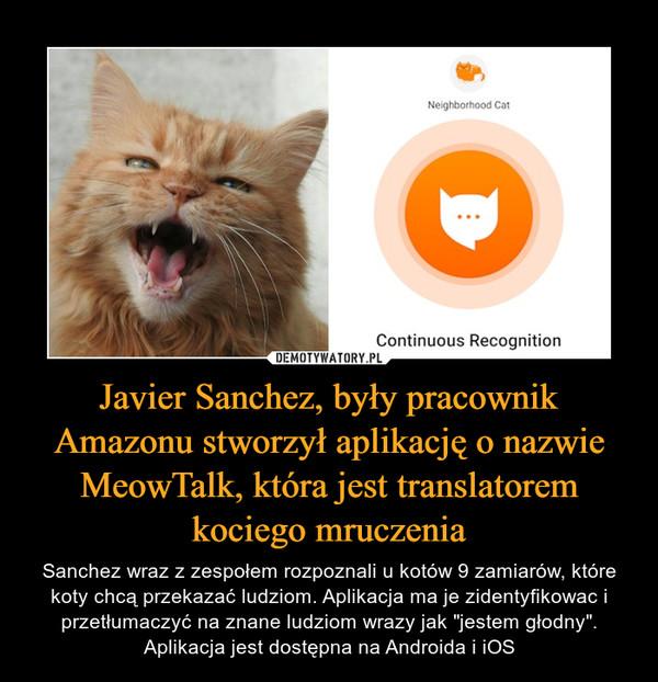 """Javier Sanchez, były pracownik Amazonu stworzył aplikację o nazwie MeowTalk, która jest translatoremkociego mruczenia – Sanchez wraz z zespołem rozpoznali u kotów 9 zamiarów, które koty chcą przekazać ludziom. Aplikacja ma je zidentyfikowac i przetłumaczyć na znane ludziom wrazy jak """"jestem głodny"""". Aplikacja jest dostępna na Androida i iOS"""