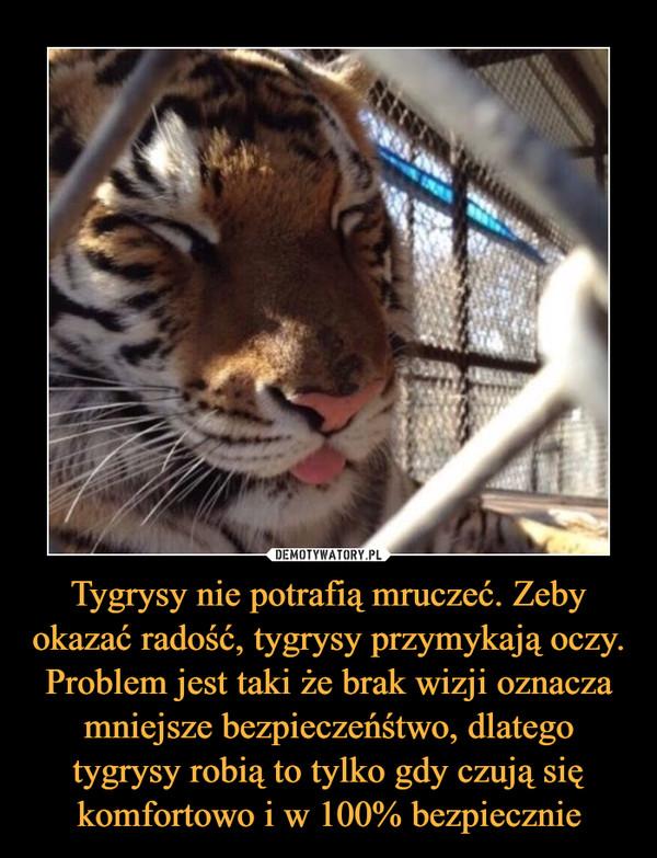 Tygrysy nie potrafią mruczeć. Zeby okazać radość, tygrysy przymykają oczy. Problem jest taki że brak wizji oznacza mniejsze bezpieczeńśtwo, dlatego tygrysy robią to tylko gdy czują się komfortowo i w 100% bezpiecznie –