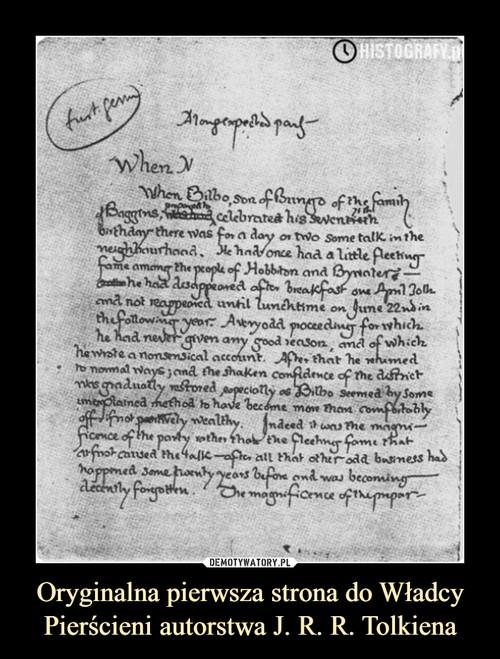 Oryginalna pierwsza strona do Władcy Pierścieni autorstwa J. R. R. Tolkiena