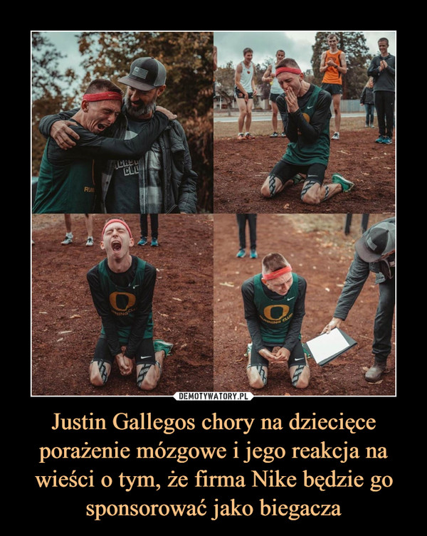 Justin Gallegos chory na dziecięce porażenie mózgowe i jego reakcja na wieści o tym, że firma Nike będzie go sponsorować jako biegacza –
