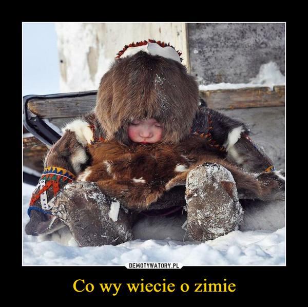 Co wy wiecie o zimie –