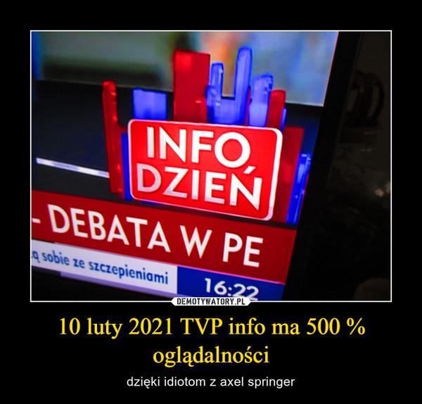 10 luty 2021 TVP info ma 500 % oglądalności – dzięki idiotom z axel springer