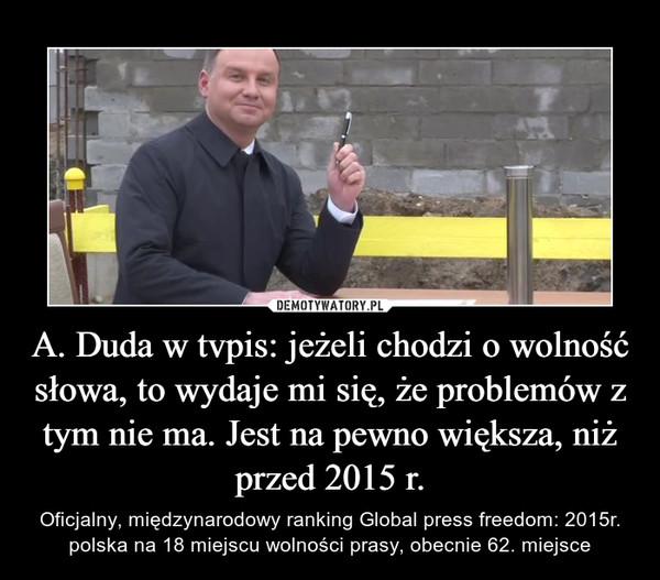 A. Duda w tvpis: jeżeli chodzi o wolność słowa, to wydaje mi się, że problemów z tym nie ma. Jest na pewno większa, niż przed 2015 r. – Oficjalny, międzynarodowy ranking Global press freedom: 2015r. polska na 18 miejscu wolności prasy, obecnie 62. miejsce