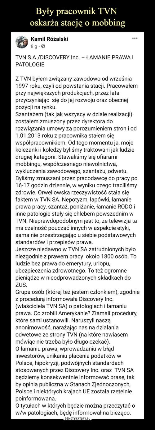 Były pracownik TVN  oskarża stację o mobbing