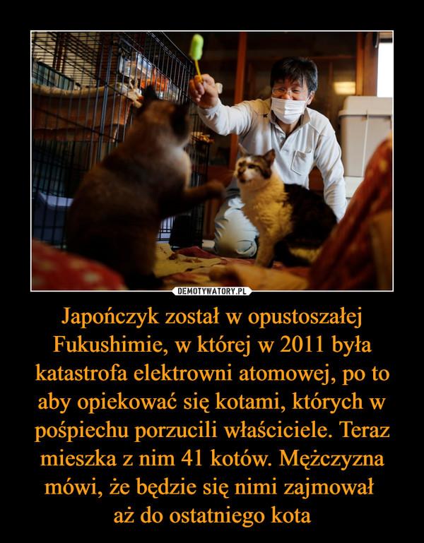 Japończyk został w opustoszałej Fukushimie, w której w 2011 była katastrofa elektrowni atomowej, po to aby opiekować się kotami, których w pośpiechu porzucili właściciele. Teraz mieszka z nim 41 kotów. Mężczyzna mówi, że będzie się nimi zajmował aż do ostatniego kota –