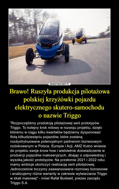 Brawo! Ruszyła produkcja pilotażowa polskiej krzyżówki pojazdu elektrycznego skutero-samochodu o nazwie Triggo