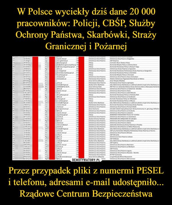 Przez przypadek pliki z numermi PESEL i telefonu, adresami e-mail udostępniło... Rządowe Centrum Bezpieczeństwa –