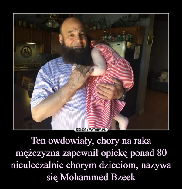Ten owdowiały, chory na raka mężczyzna zapewnił opiekę ponad 80 nieuleczalnie chorym dzieciom, nazywa się Mohammed Bzeek –