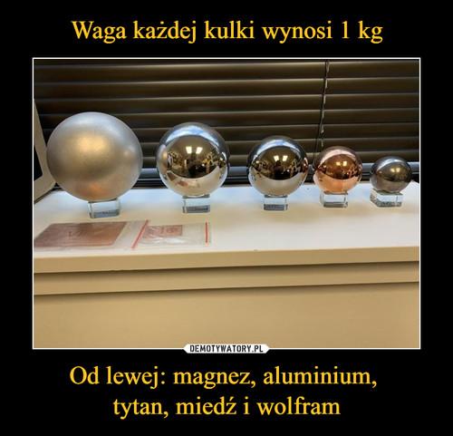 Waga każdej kulki wynosi 1 kg Od lewej: magnez, aluminium,  tytan, miedź i wolfram