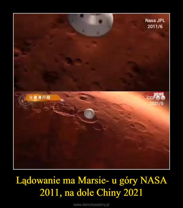 Lądowanie ma Marsie- u góry NASA 2011, na dole Chiny 2021 –