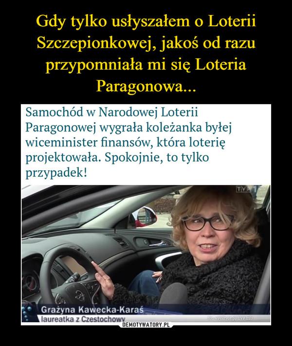 –  Samochód w Narodowej Loterii Paragonowej wygrała koleżanka byłej wiceminister finansów, która loterię projektowała. Spokojnie, to tylko przypadek!
