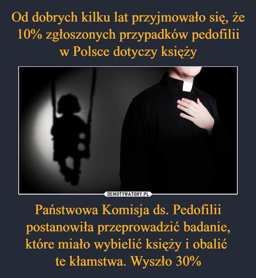 Od dobrych kilku lat przyjmowało się, że 10% zgłoszonych przypadków pedofilii w Polsce dotyczy księży Państwowa Komisja ds. Pedofilii postanowiła przeprowadzić badanie, które miało wybielić księży i obalić  te kłamstwa. Wyszło 30%