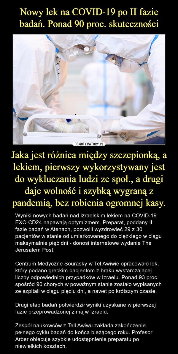 Jaka jest różnica między szczepionką, a lekiem, pierwszy wykorzystywany jest do wykluczania ludzi ze społ., a drugi daje wolność i szybką wygraną z pandemią, bez robienia ogromnej kasy. – Wyniki nowych badań nad izraelskim lekiem na COVID-19 EXO-CD24 napawają optymizmem. Preparat, poddany II fazie badań w Atenach, pozwolił wyzdrowieć 29 z 30 pacjentów w stanie od umiarkowanego do ciężkiego w ciągu maksymalnie pięć dni - donosi internetowe wydanie The Jerusalem Post.Centrum Medyczne Sourasky w Tel Awiwie opracowało lek, który podano greckim pacjentom z braku wystarczającej liczby odpowiednich przypadków w Izraelu. Ponad 93 proc. spośród 90 chorych w poważnym stanie zostało wypisanych ze szpitali w ciągu pięciu dni, a nawet po krótszym czasie.Drugi etap badań potwierdził wyniki uzyskane w pierwszej fazie przeprowadzonej zimą w Izraelu.Zespół naukowców z Tell Awiwu zakłada zakończenie pełnego cyklu badań do końca bieżącego roku. Profesor Arber obiecuje szybkie udostępnienie preparatu po niewielkich kosztach.
