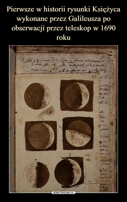 Pierwsze w historii rysunki Księżyca wykonane przez Galileusza po obserwacji przez teleskop w 1690 roku