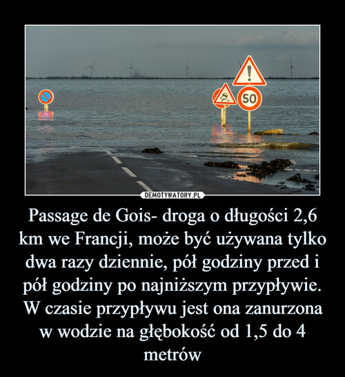 Passage de Gois- droga o długości 2,6 km we Francji, może być używana tylko dwa razy dziennie, pół godziny przed i pół godziny po najniższym przypływie. W czasie przypływu jest ona zanurzona w wodzie na głębokość od 1,5 do 4 metrów