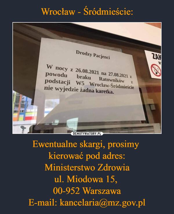Ewentualne skargi, prosimy kierować pod adres:Ministerstwo Zdrowiaul. Miodowa 15, 00-952 WarszawaE-mail: kancelaria@mz.gov.pl –