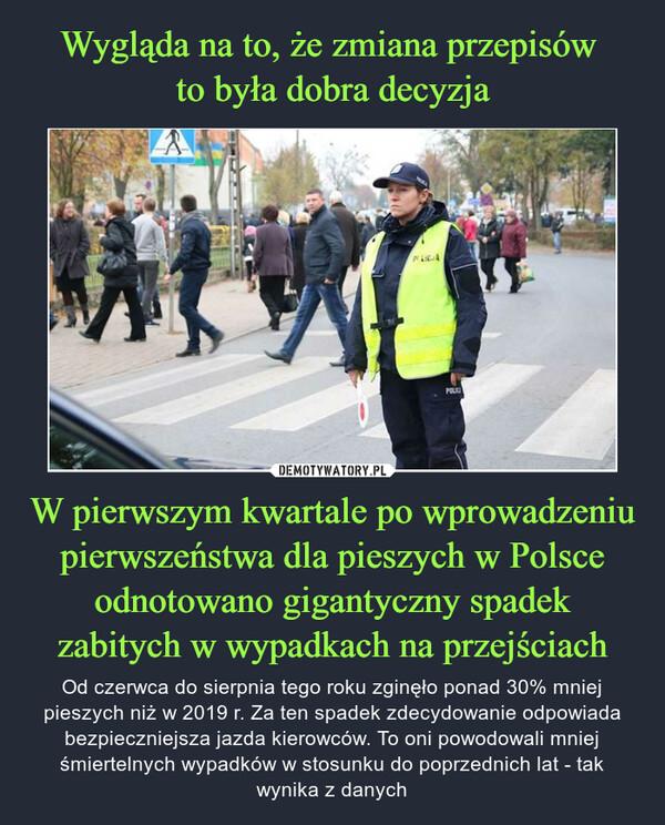 W pierwszym kwartale po wprowadzeniu pierwszeństwa dla pieszych w Polsce odnotowano gigantyczny spadek zabitych w wypadkach na przejściach – Od czerwca do sierpnia tego roku zginęło ponad 30% mniej pieszych niż w 2019 r. Za ten spadek zdecydowanie odpowiada bezpieczniejsza jazda kierowców. To oni powodowali mniej śmiertelnych wypadków w stosunku do poprzednich lat - tak wynika z danych