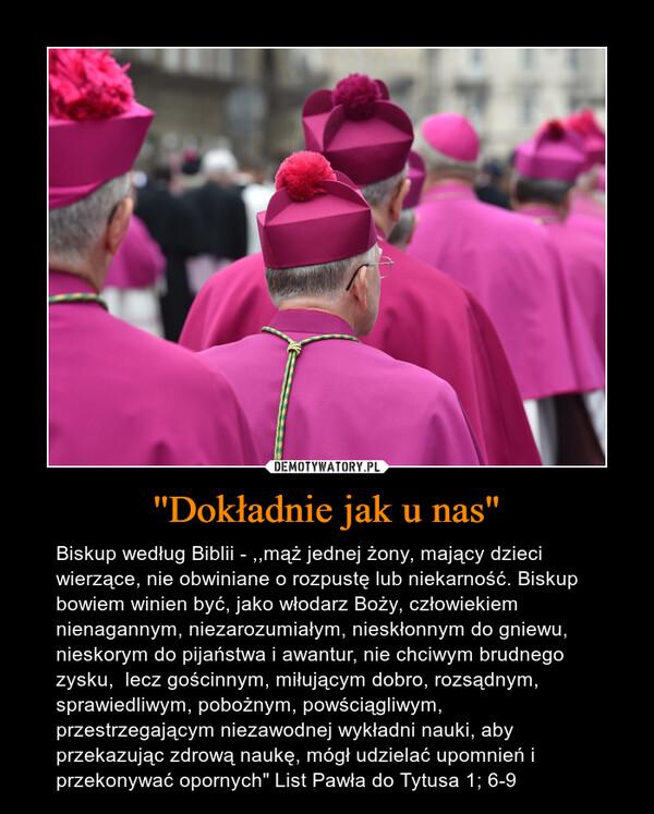 """''Dokładnie jak u nas"""" – Biskup według Biblii - ,,mąż jednej żony, mający dzieci wierzące, nie obwiniane o rozpustę lub niekarność. Biskup bowiem winien być, jako włodarz Boży, człowiekiem nienagannym, niezarozumiałym, nieskłonnym do gniewu, nieskorym do pijaństwa i awantur, nie chciwym brudnego zysku,  lecz gościnnym, miłującym dobro, rozsądnym, sprawiedliwym, pobożnym, powściągliwym,  przestrzegającym niezawodnej wykładni nauki, aby przekazując zdrową naukę, mógł udzielać upomnień i przekonywać opornych"""" List Pawła do Tytusa 1; 6-9"""